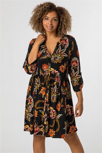 Black Curve Floral Print Jersey Dress