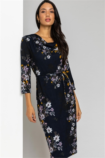 Navy Floral Knitted Cowl Neck Dress