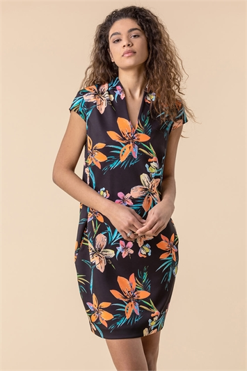 Tropical Print Scuba Cocoon Dress