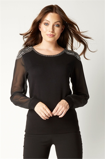 Black Embellished Shoulder Jumper, Image 1 of 4