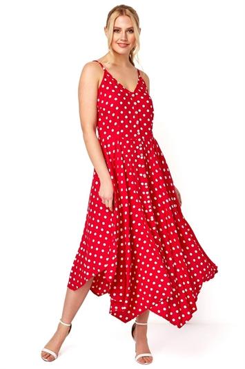 Polka Dot Hanky Hem Midi Dress