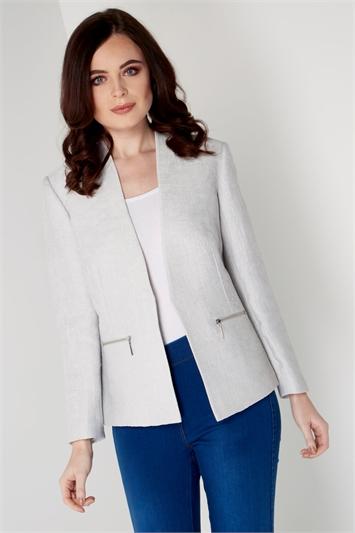 Light Grey Pleat Tailored Jacket, Image 1 of 5