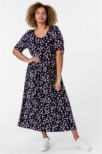 Navy Curve Ditsy Floral Print Midi Dress