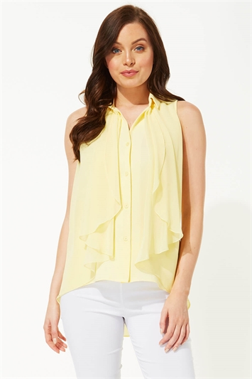 Waterfall Front Button Up Blouse