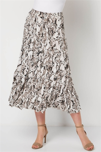 Snake Print Crinkle Skirt