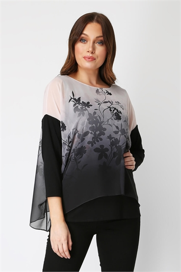 Soft Floral Overlay Chiffon Top
