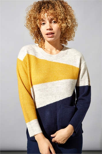Colour Block Pocket Jumper