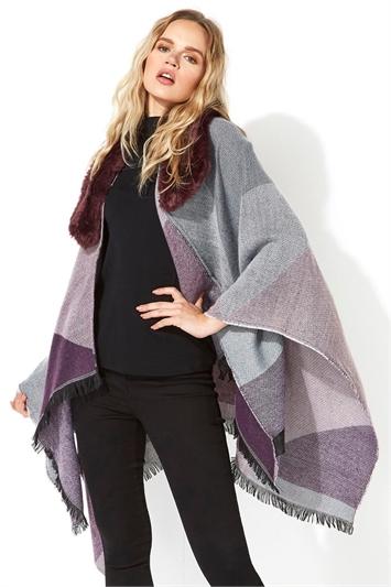 Purple One Size Faux Fur Check Shawl