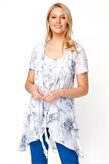 Short Sleeve Floral Crinkle Top