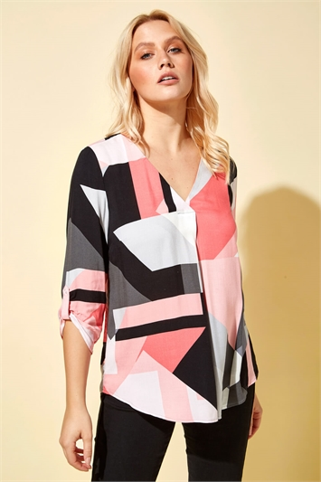 Abstract Colourblock Notch Neck Top