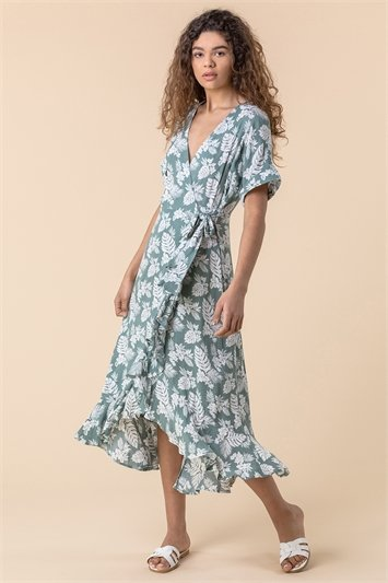 Leaf Print Wrap Midi Dress