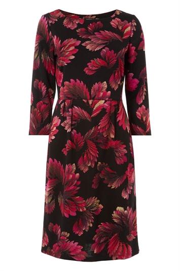 Pink Floral Print Ponte Dress
