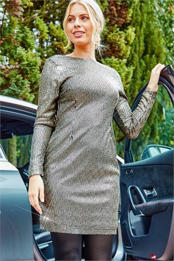 Long Sleeve Sequin Dress