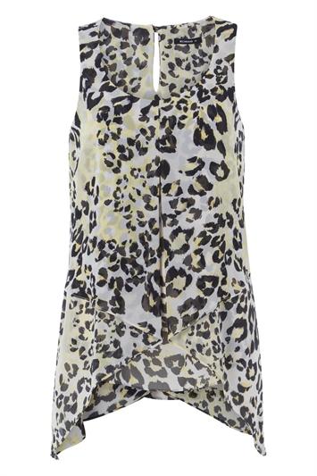 Animal Print Asymmetric Chiffon Vest Top