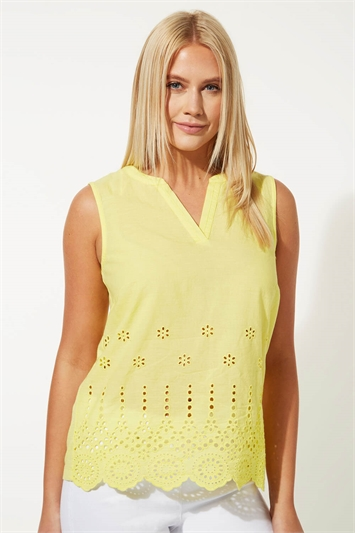 Sleeveless Scalloped Broderie Top