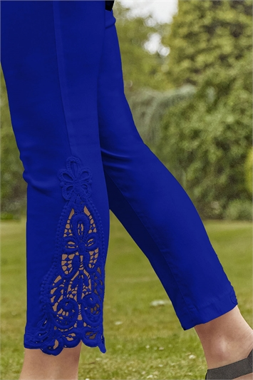 Royal Blue Lace Insert Crop Stretch Trousers