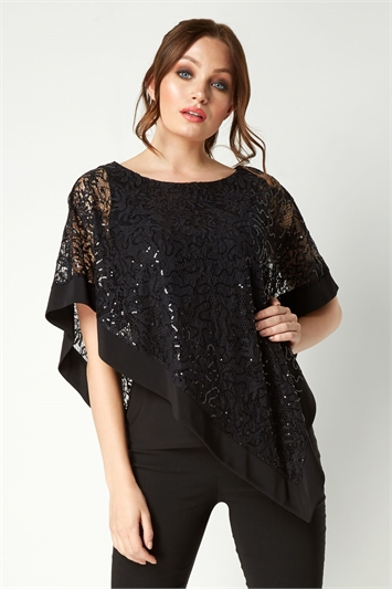 Sequin Lace Overlay Top