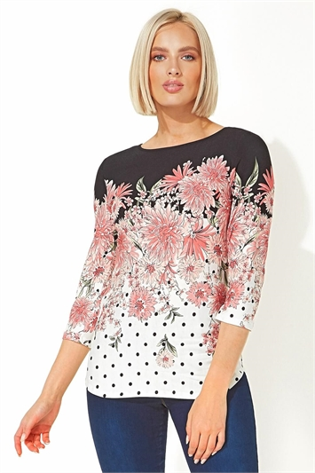 Spot Floral 3/4 Sleeve Top