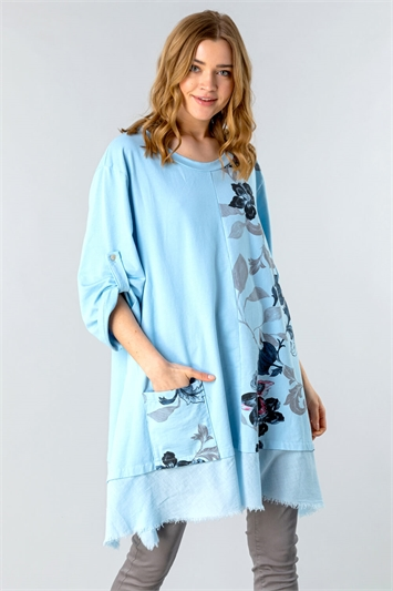Light Blue Floral Slouchy Pocket Tunic Top, Image 1 of 4