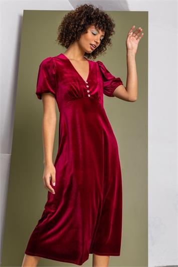 Wine Velvet Button Detail Fit & Flare Dress, Image 1 of 5