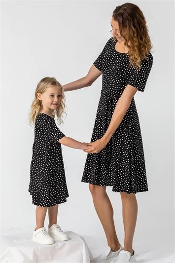 Black Spot Print Belted Skater Dress
