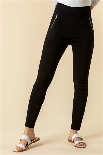 Zip Detail Stretch Trouser