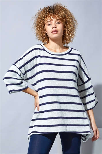 Brushed Stripe Print Top