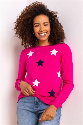 Pink Star Print Crew Neck Jumper