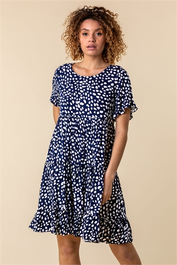 Abstract Spot Print Smock Dress