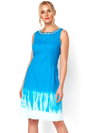Embroidered Tie Dye Cotton Shift Dress