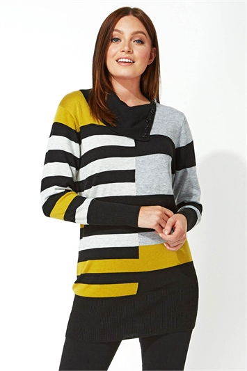 Stripe Button Detail Tunic Jumper