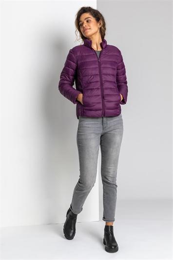 Purple Lightweight Padded Coat, Image 1 of 5