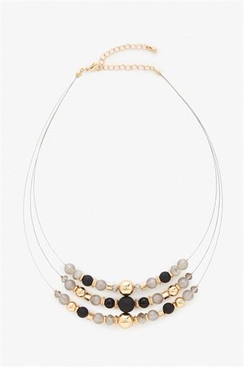 Multi Bead Row Necklace