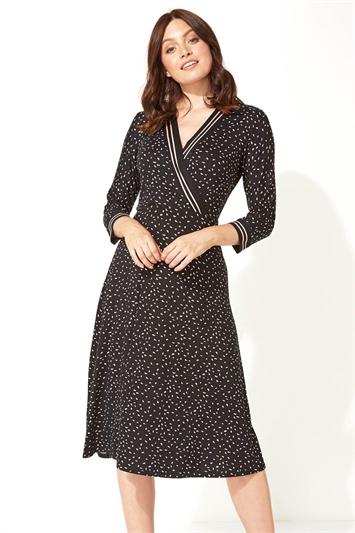 Contrast Stripe Ditsy Print Midi Dress