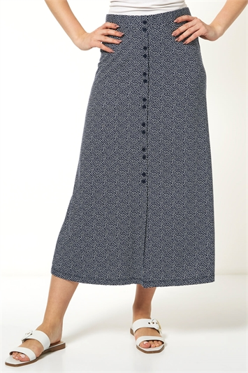 Spot Button Front Maxi Skirt