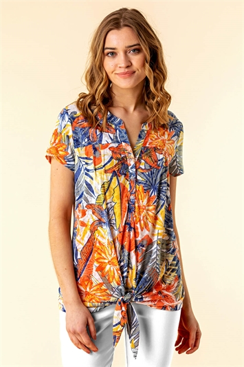 Burnout Tropical Print Tie Front Top