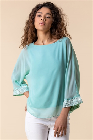 Mint Sparkle Embellished Cuff Top