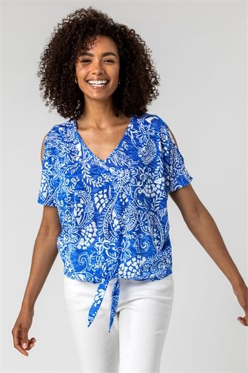 Blue Paisley Print Cold Shoulder Tie Top