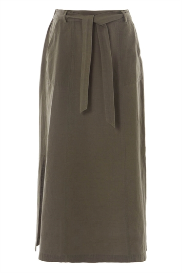 Tie Front Side Split Midi Skirt