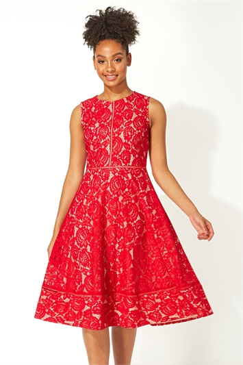 Fit And Flare Lace Midi Dress