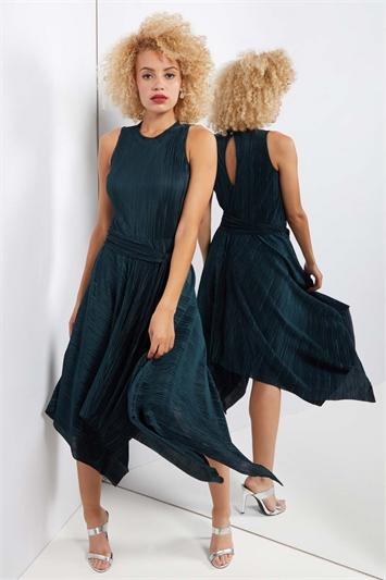 Plisse Hanky Hem Midi Dress