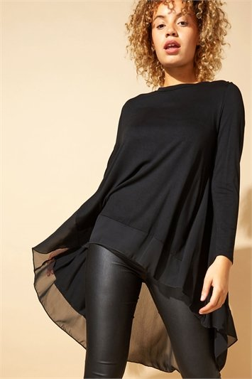 Chiffon Detail Dipped Hem Top