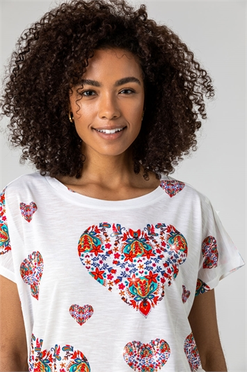 Ivory Floral Heart Print Top