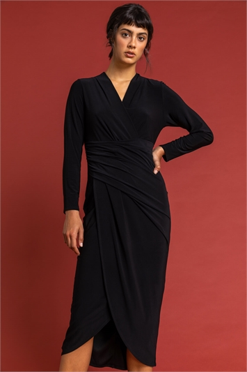 Black Fitted Jersey Wrap Dress, Image 1 of 5