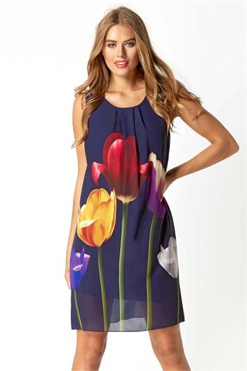 Tulip Print Swing Dress