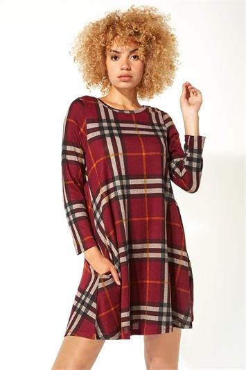 Long Sleeve Check Swing Dress