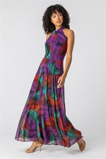Purple Tropical Print Halter Neck Maxi Dress