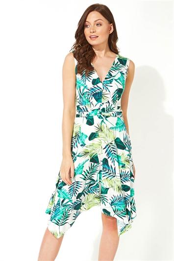 Palm Print Twist Front Dress