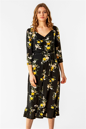 Multi Floral Print Gathered Midi Dress