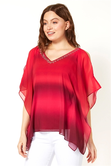 Sparkle Embellished Ombre Overlay Top